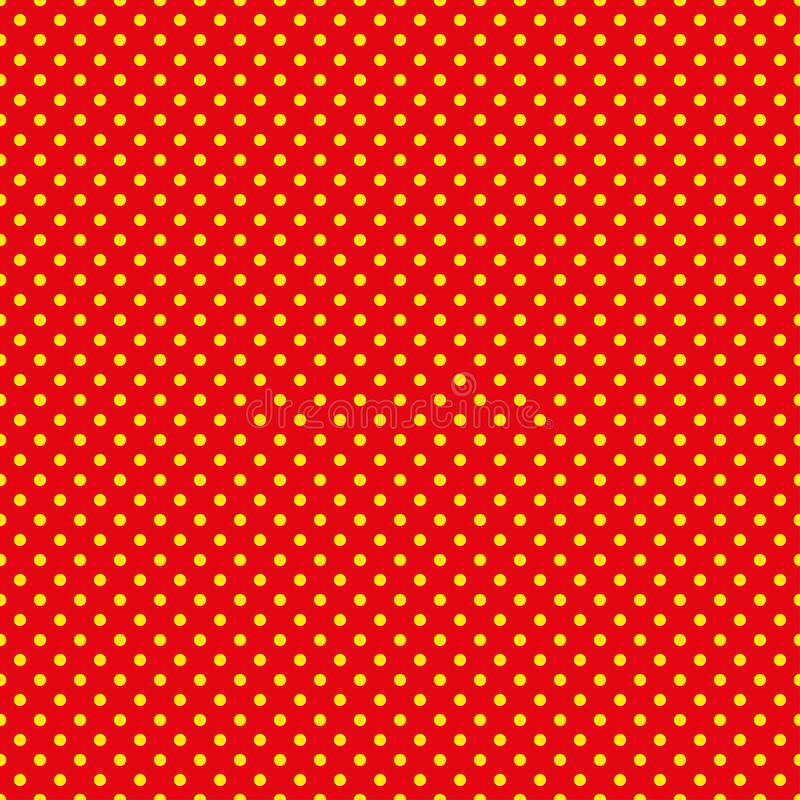 Le modèle de point de polka Illustration sans couture de vecteur avec les cercles ronds, points Jaune et rouge illustration libre de droits