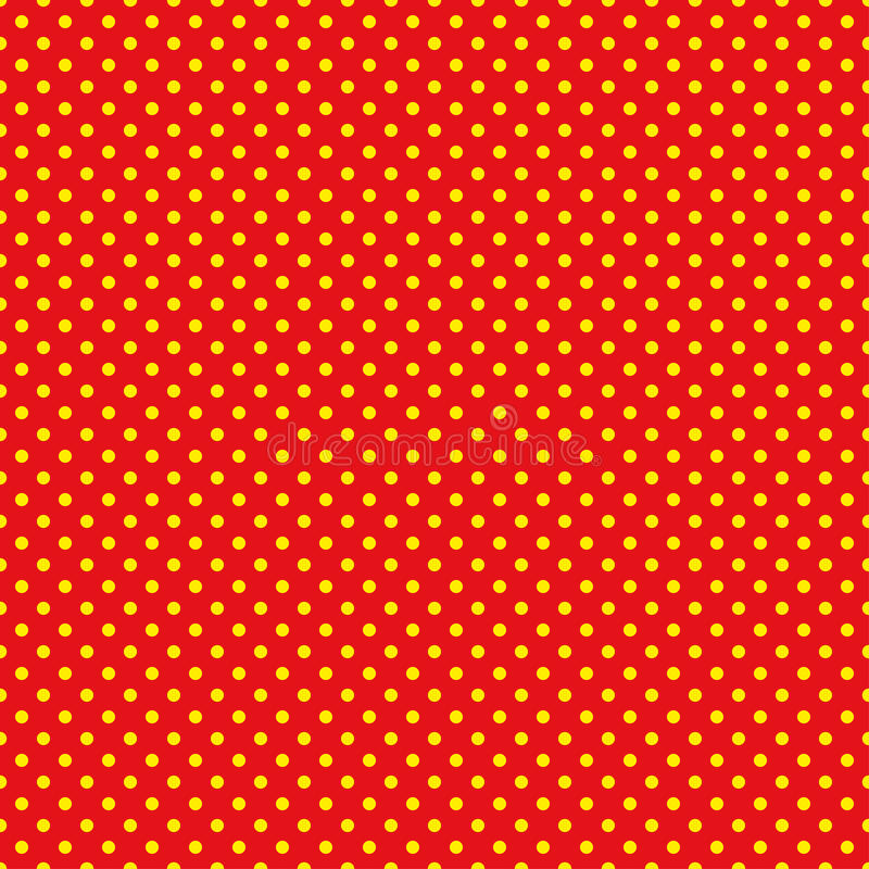 Le modèle de point de polka Illustration sans couture de vecteur avec les cercles ronds, points Jaune et rouge illustration stock
