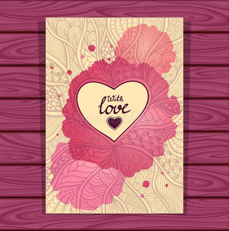 le modèle de style de Zen-griffonnage et le cadre de coeur dans le lilas beige avec des aquarelles souillent illustration stock