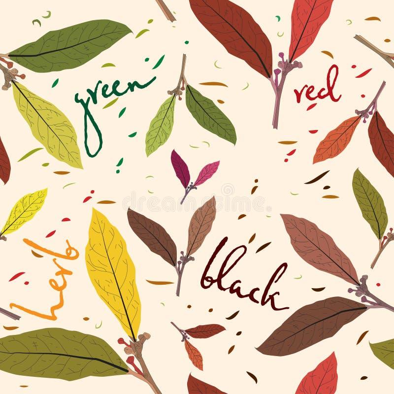 Le modèle des feuilles de thé Calibre sans couture pour votre papier peint de conception, modèles, milieux, textures de la surfac illustration stock