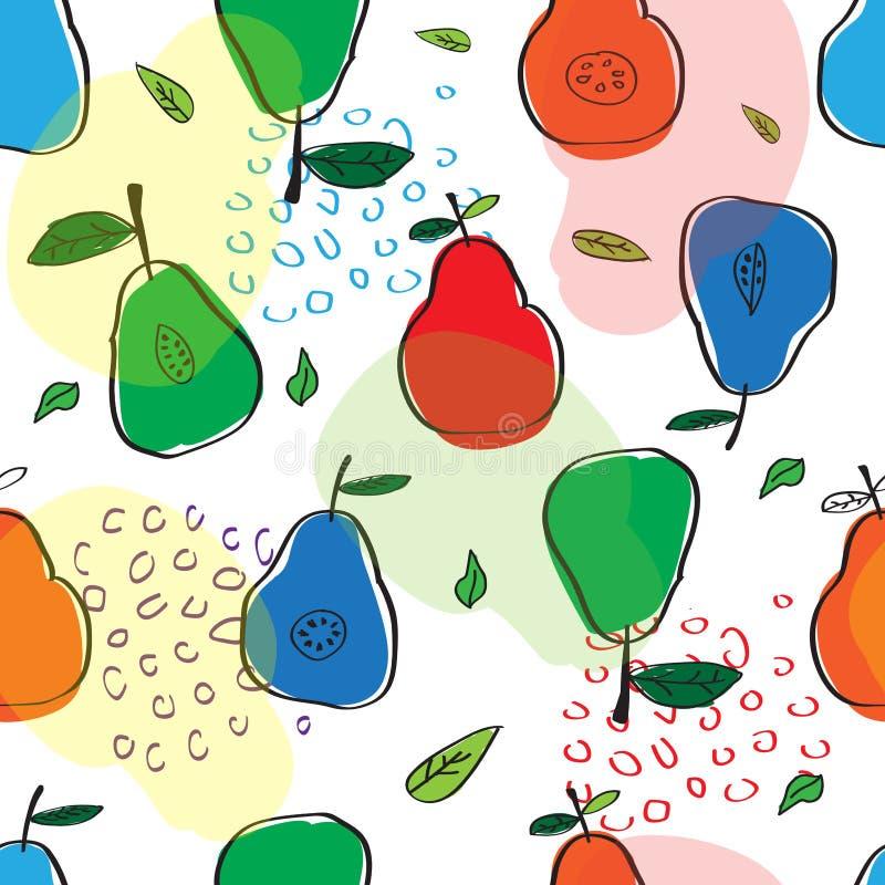 Le modèle des poires colorées dans le style scandinave Utilisé pour la conception illustration libre de droits