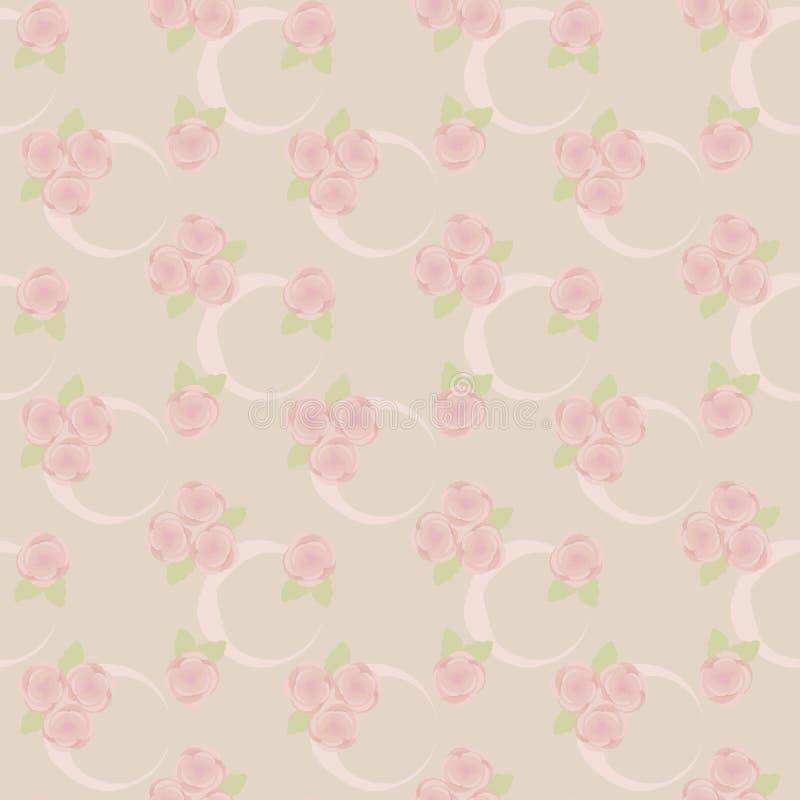 Le modèle des roses roses cendrées avec des rubans un croissant et un vert légers laisse sur un fond de vecteur de couleurs en pa illustration libre de droits