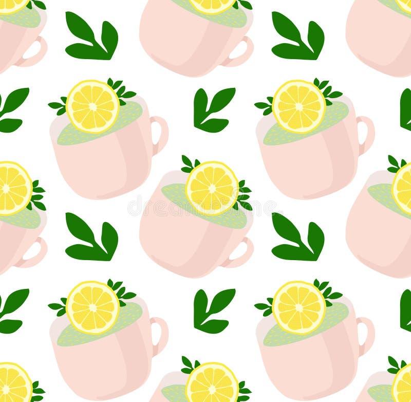 Le modèle du beau thé attaque avec des feuilles de citron et de vert Thé régénérateur Configuration de vecteur illustration stock