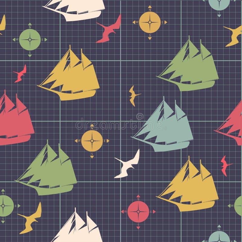 Le modèle embarque la conception décorative d'oiseau de mer de boussoles sur le pape de graphique illustration de vecteur