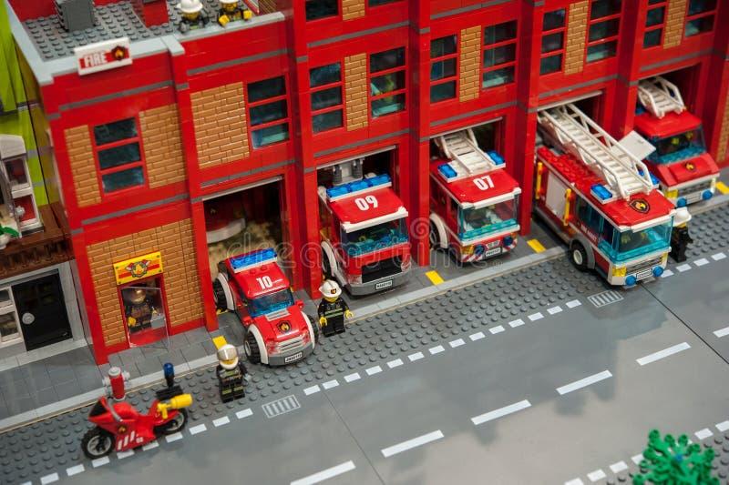Le modèle en plastique de caserne de pompiers, vue à partir de dessus image libre de droits