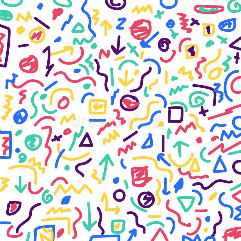 Le modèle et les lignes géométriques colorés tirés par la main de frontière empaquettent dessus illustration stock