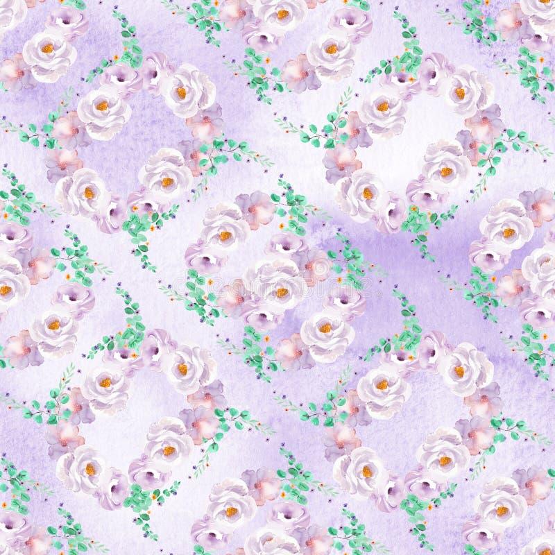 Le modèle floral d'aquarelle sans couture dans des couleurs violettes vertes et mauve-clair en bon état avec des roses tresse photos libres de droits