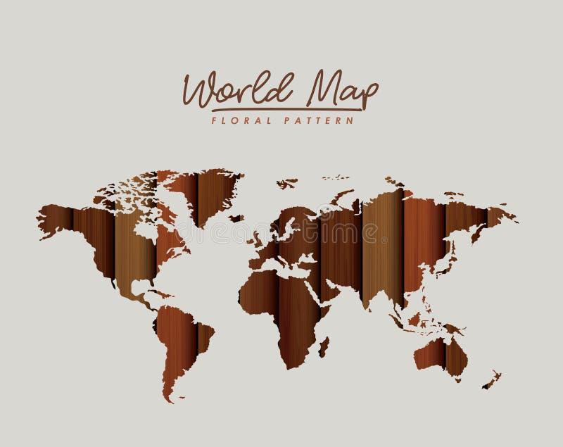 Le modèle floral de carte du monde avec la texture en bois brune raye sur le fond gris-clair illustration libre de droits