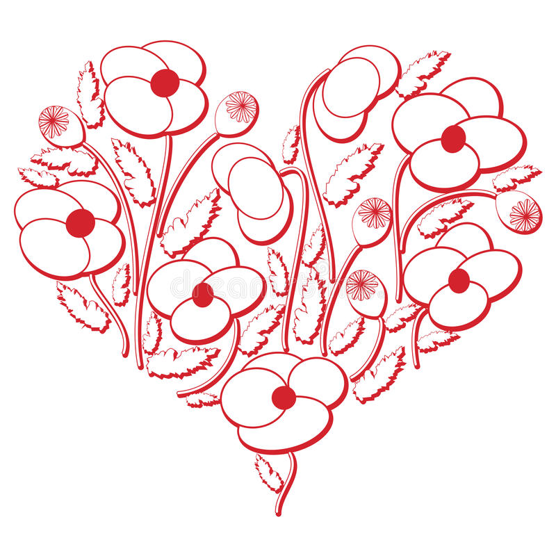 Le modèle floral folklorique de coupe-circuit de broderie de célébration dans la version de la forme 3d de coeur en blanc et roug illustration stock