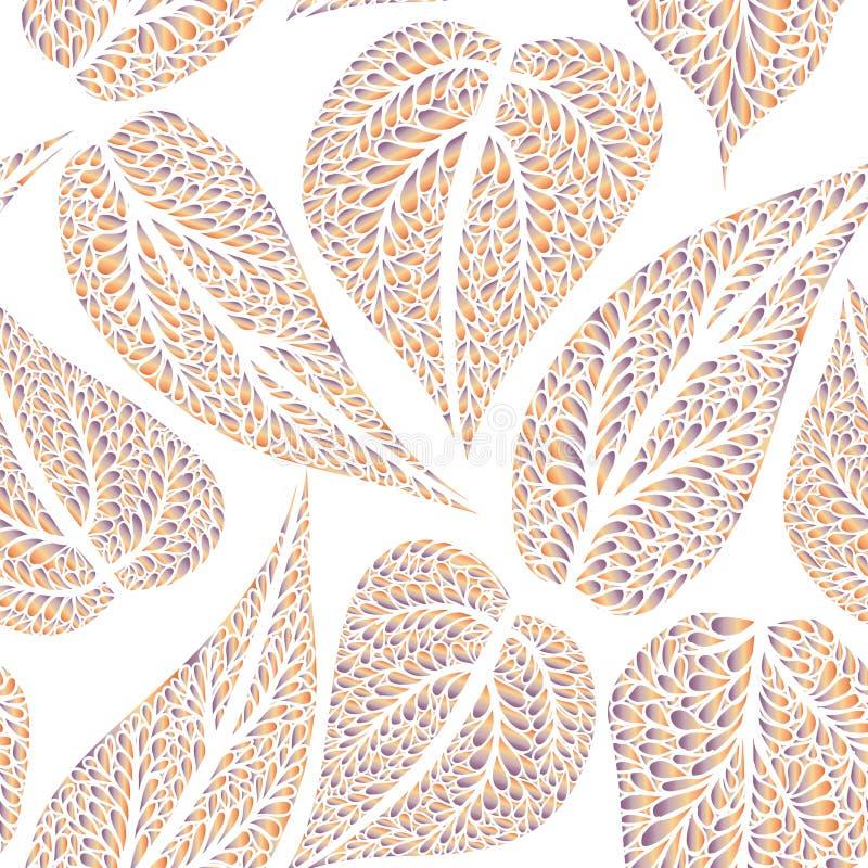 Le modèle floral laisse la farine carrelée texturisée d'Ornamental de fond illustration stock