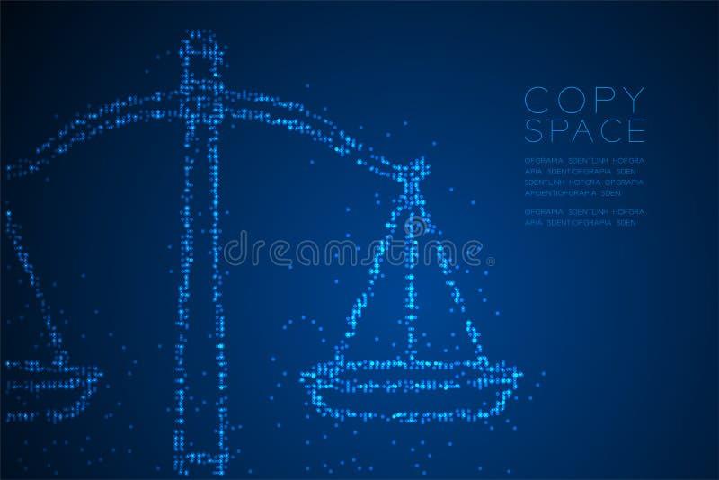 Le modèle géométrique abstrait de pixel de point de cercle mesure la forme d'équilibre, illustration de couleur bleue de concepti illustration stock