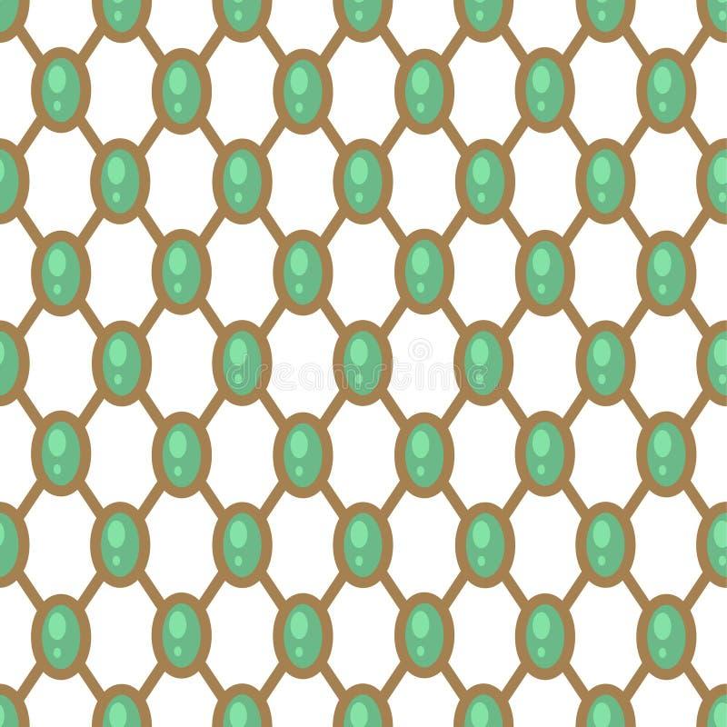 Le modèle géométrique de gemmes avec la maille nette de vert et d'or forme la répétition sans couture illustration stock