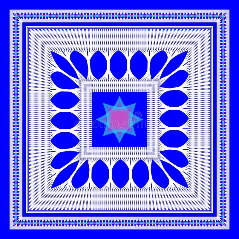 Le modèle géométrique de vecteur pour l'écharpe de conception, hijab, écharpe, couvre de tuiles le fond bleu illustration de vecteur
