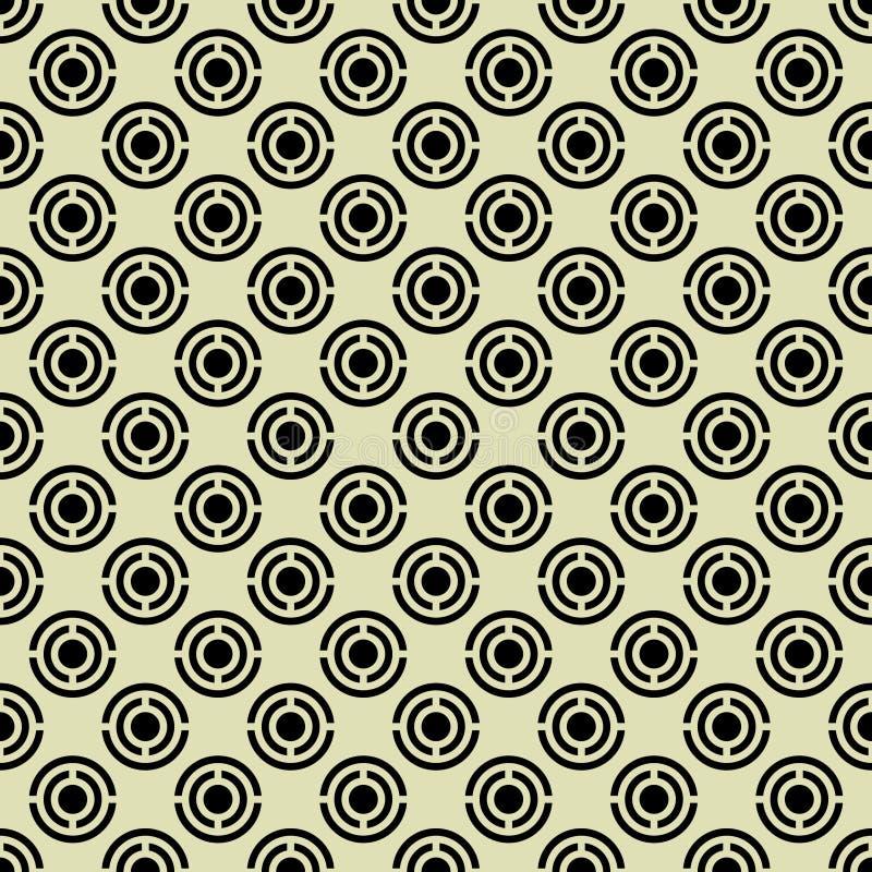 Le modèle géométrique des cercles noirs sur un fond jaune illustration stock