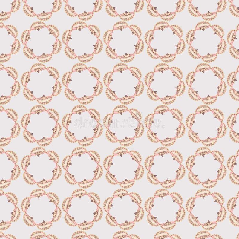 Le modèle graphique circulaire rose de répétition avec le vintage évente images libres de droits