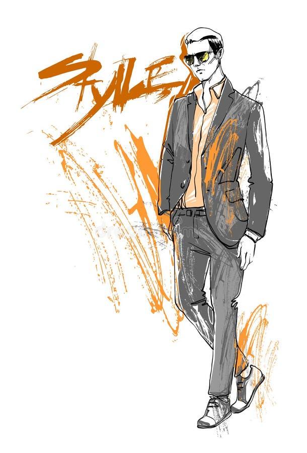 Le modèle Male Wear Elegant de style de collection de mode de vente d'achats vêtx le croquis de remise illustration stock
