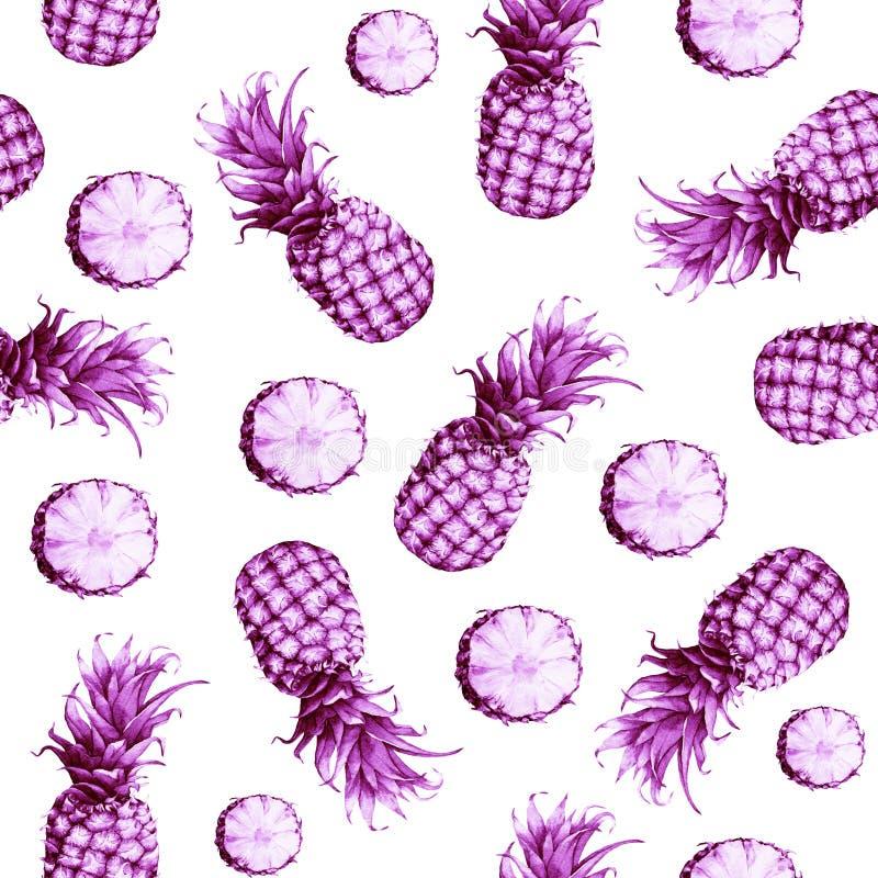 Le modèle monochrome rose sans couture de l'ananas de fruit frais illustration libre de droits