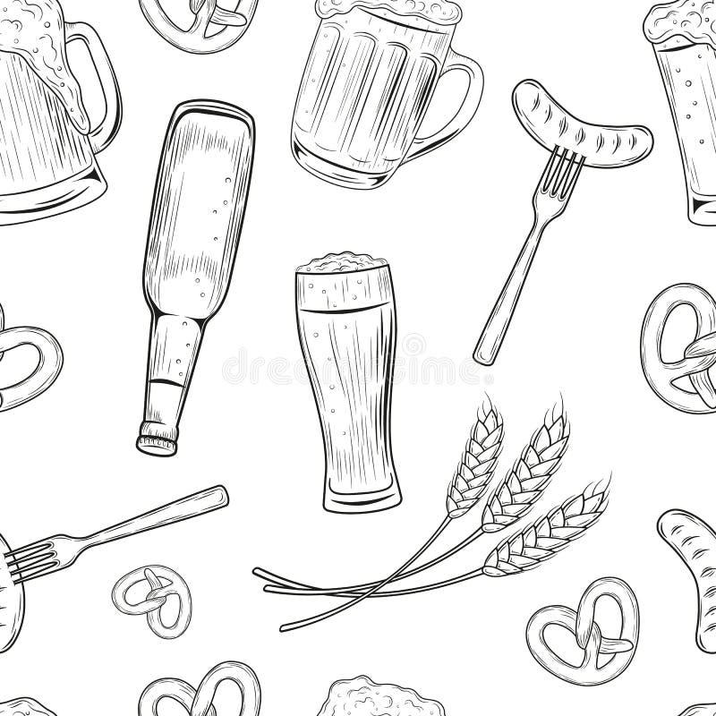 Le modèle sans couture à disposition dessiné gribouillent le style avec différents objets connexes avec de la bière Vecteur illustration stock