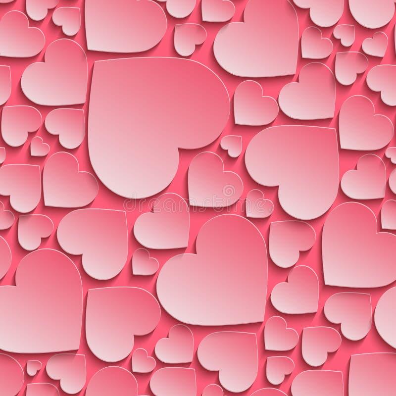 Le modèle sans couture étonnant, fond avec le papier a coupé les coeurs roses illustration stock