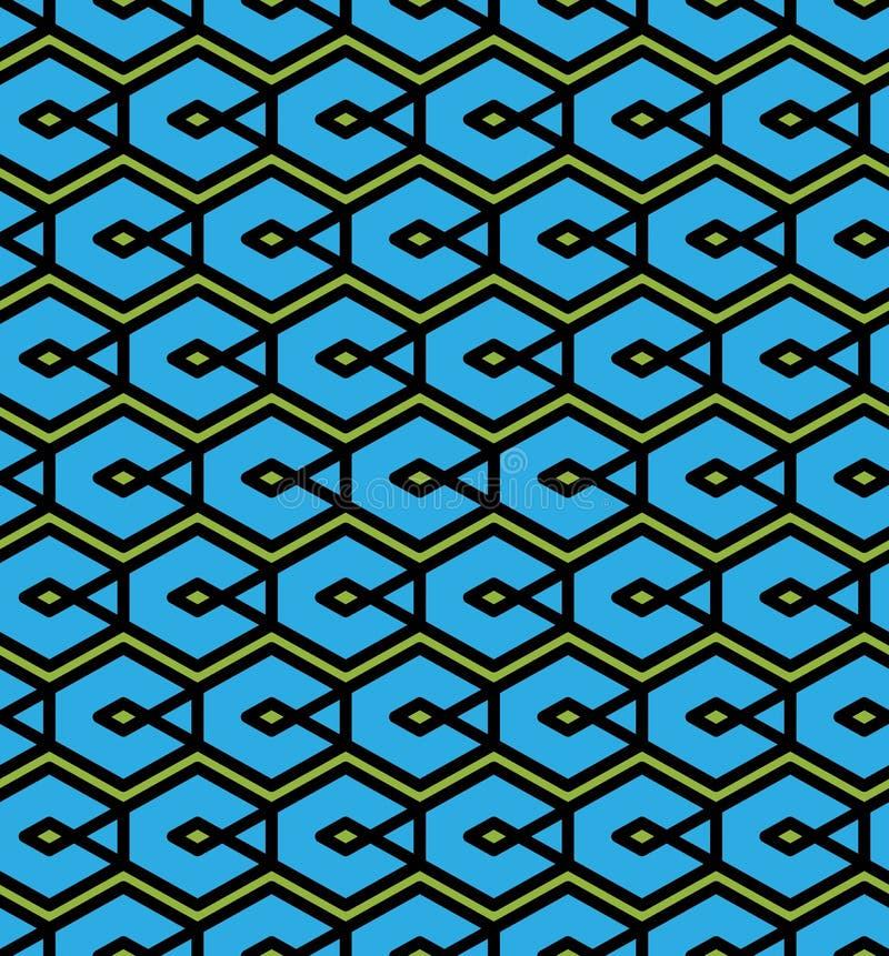Le modèle sans couture abstrait bleu avec entrelacent des lignes Vecteur Orn illustration de vecteur