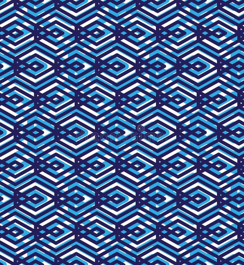 Le modèle sans couture abstrait bleu avec entrelacent des lignes Vecteur Orn illustration libre de droits
