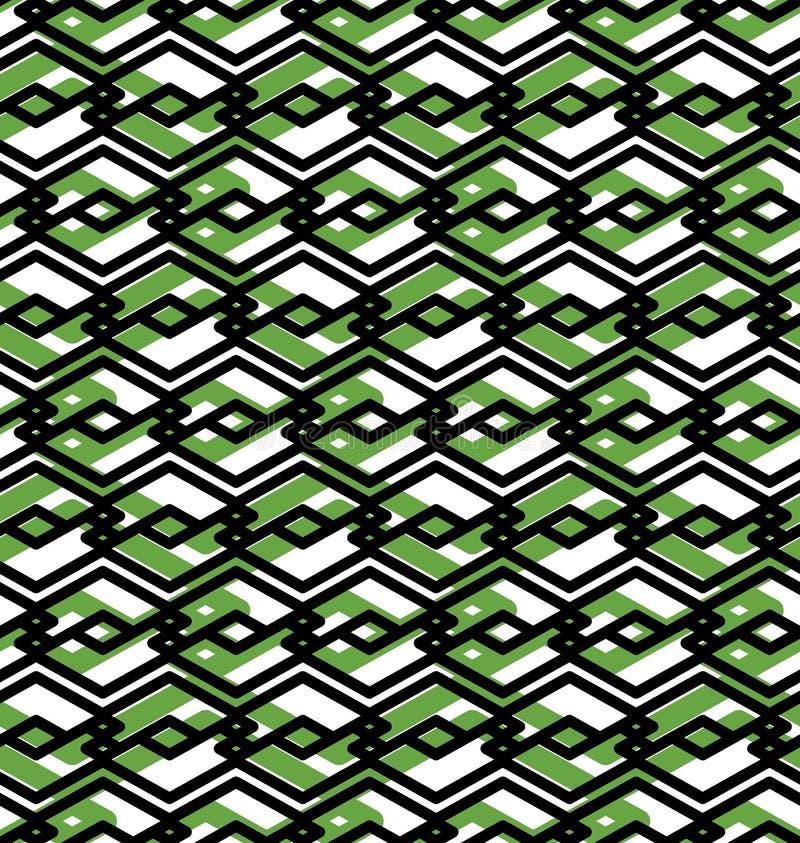 Le modèle sans couture abstrait vert avec entrelacent des lignes Vecteur ou illustration de vecteur