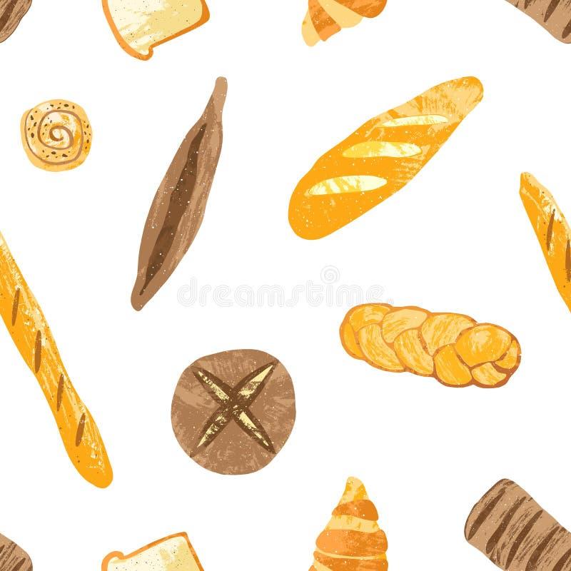 Le modèle sans couture avec des pains savoureux, pâtisserie de dessert, a fait des produits ou des articles cuire au four de boul illustration de vecteur