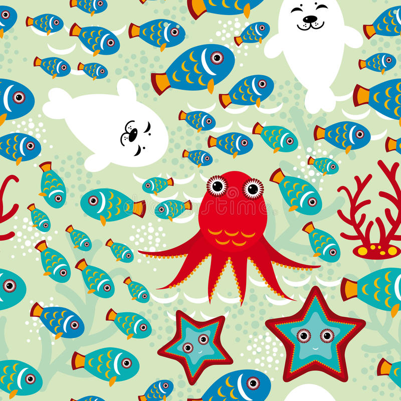 Le modèle sans couture avec des poissons, otaries, poulpe, l'étoile de mer, coraux à l'arrière-plan arrosent illustration de vecteur