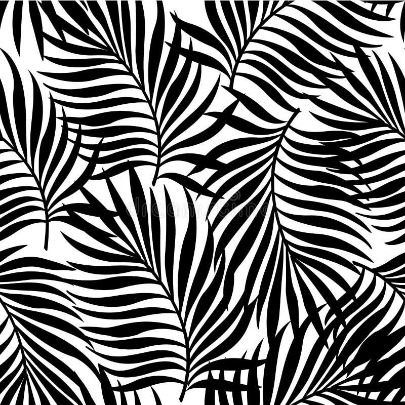 Le modèle sans couture avec des silhouettes de palmier part dans le noir sur le fond blanc illustration libre de droits
