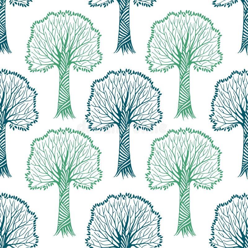 Le modèle sans couture avec des silhouettes des arbres, dirigent tiré par la main illustration libre de droits
