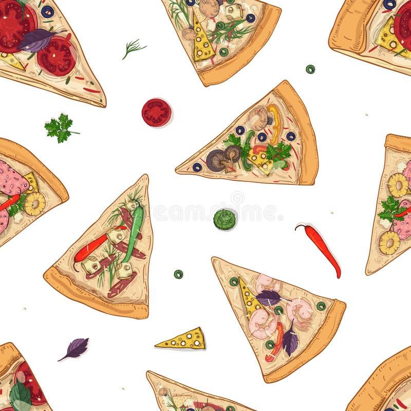 Le modèle sans couture avec des tranches de différents types et ingrédients de pizza a dispersé autour sur le fond blanc Vecteur illustration stock