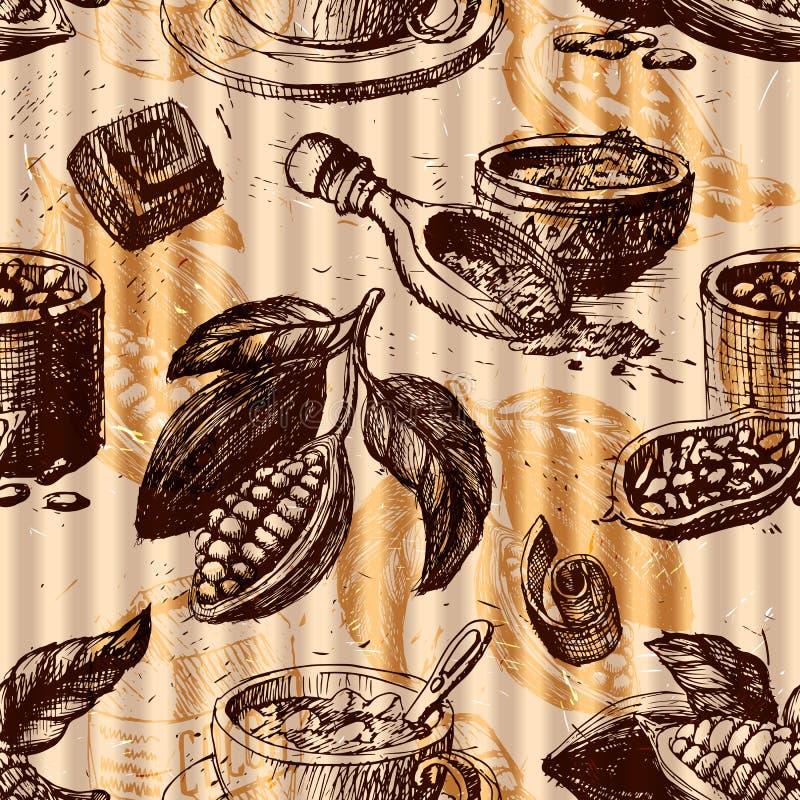 Le modèle sans couture avec du cacao porte des fruits texture monochrome de chocolat pour l'empaquetage, l'identité d'entreprise, illustration libre de droits