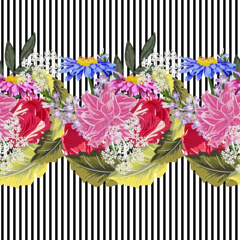 Le modèle sans couture avec le jardin mignon fleurit sur le fond rayé illustration libre de droits