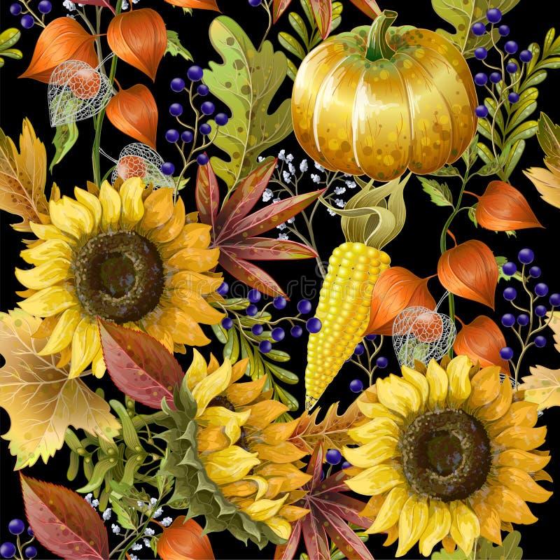 Le modèle sans couture avec le jaune d'automne part, des tournesols et des potirons Illustration de vecteur illustration de vecteur