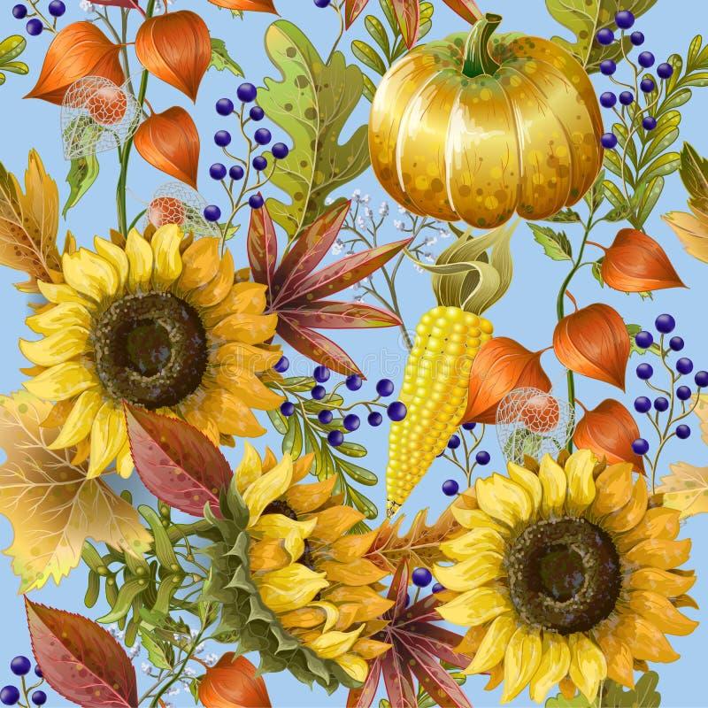 Le modèle sans couture avec le jaune d'automne part, des tournesols et des potirons Illustration de vecteur illustration stock