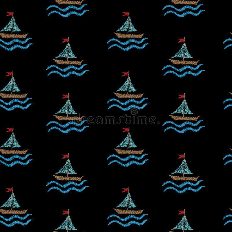 Le modèle sans couture avec la broderie pique le petit bateau d'imitation illustration stock