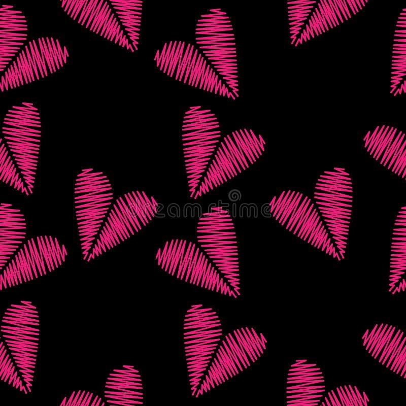 Le modèle sans couture avec la broderie rose de coeur pique l'imitation dessus illustration libre de droits