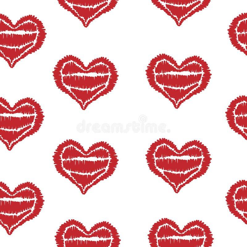 Le modèle sans couture avec la broderie rouge de coeur pique imi illustration stock