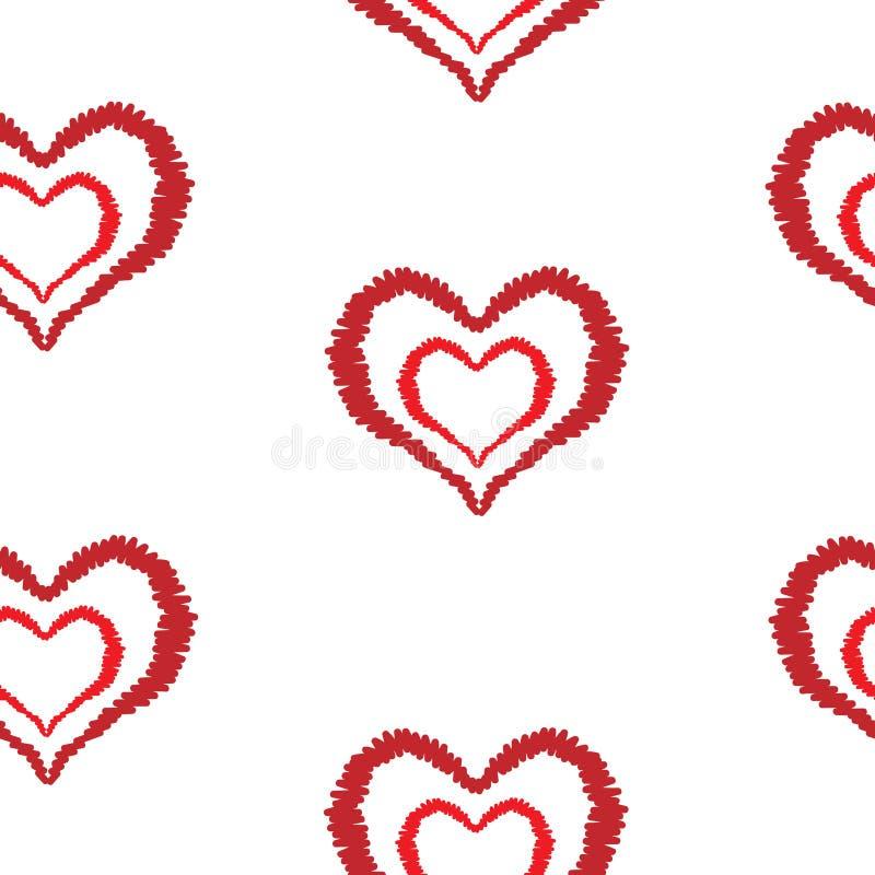 Le modèle sans couture avec la broderie rouge de coeur pique l'imitation illustration libre de droits