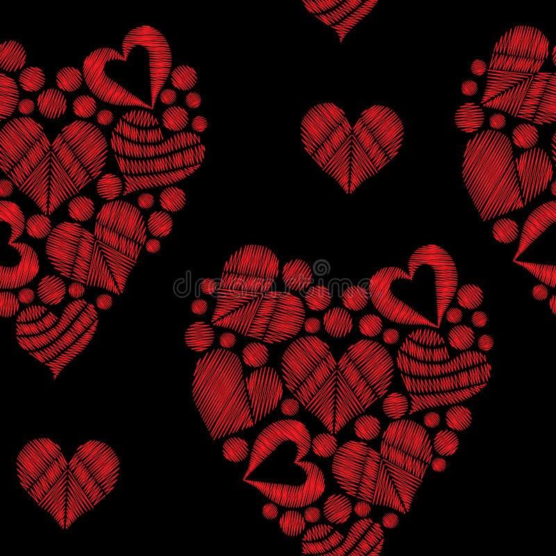 Le modèle sans couture avec la broderie rouge de coeur pique l'imitation dedans illustration libre de droits
