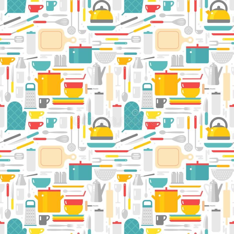 Le modèle sans couture avec la cuisine usine l'illustration de vecteur illustration stock