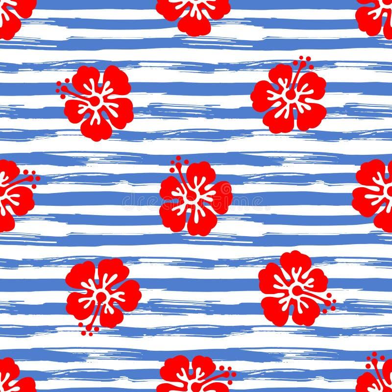 Le modèle sans couture avec la ketmie fleurit sur le fond rayé Illustration tropicale d'été Vecteur illustration libre de droits
