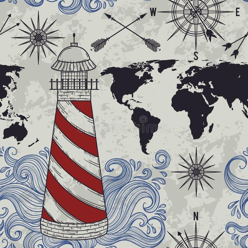 Le modèle sans couture avec le phare, les vagues, la boussole, la carte du monde et le vent a monté illustration stock