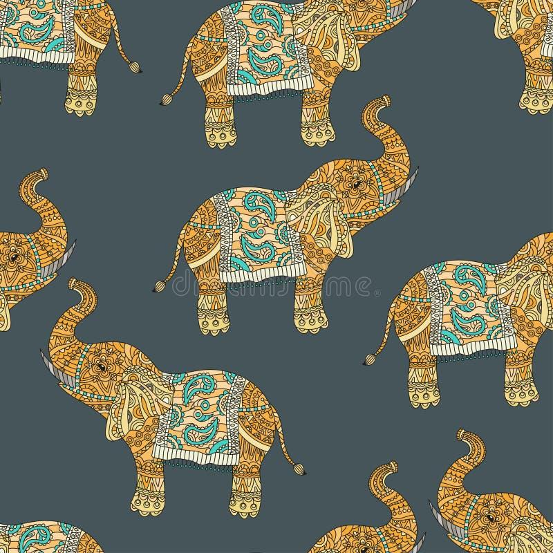 Le modèle sans couture avec le tribal tiré par la main a dénommé l'éléphant illustration de vecteur