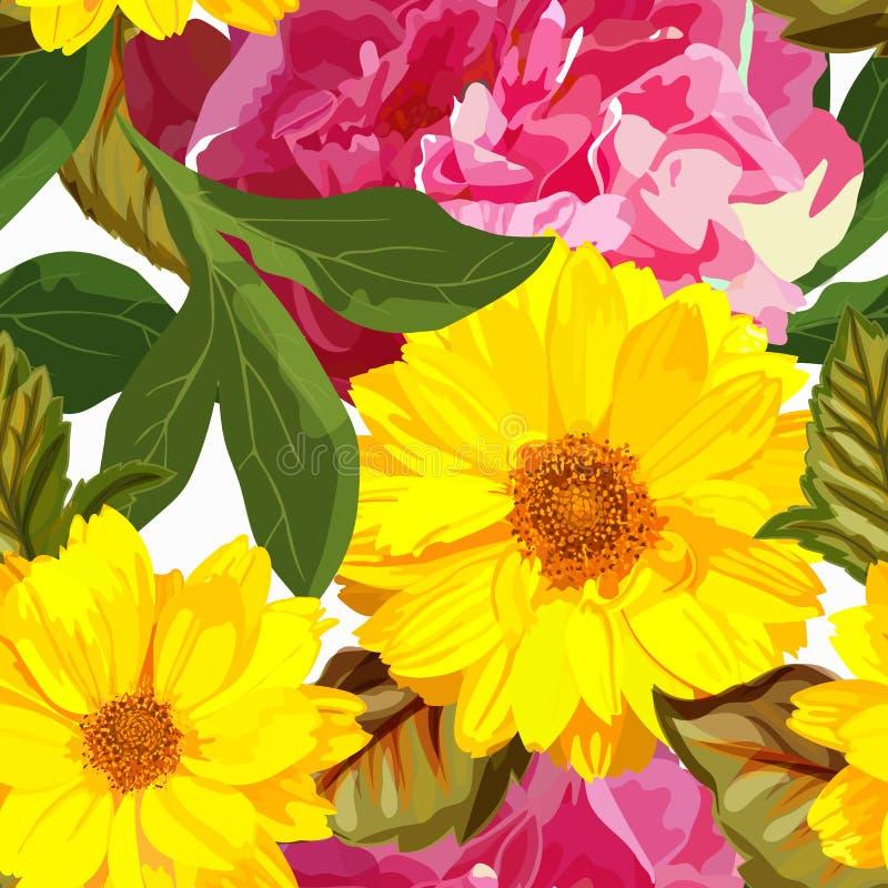 Le modèle sans couture avec les chrysanthèmes jaunes et les pivoines rouges coulent illustration de vecteur