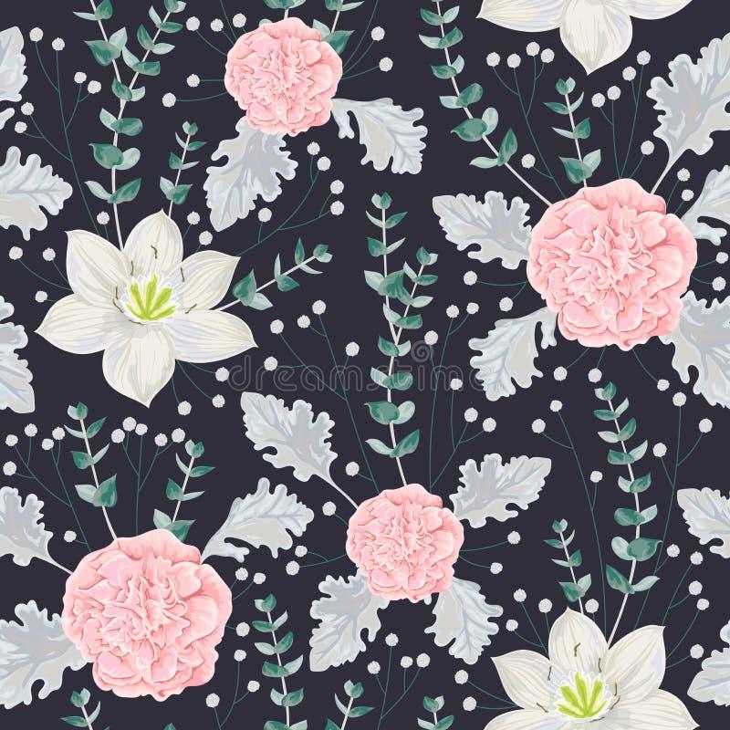 Le modèle sans couture avec les fleurs roses de camélias, le lis d'eucharis, le miller poussiéreux, le gypsophila et l'eucalyptus illustration stock