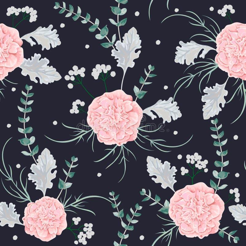 Le modèle sans couture avec les fleurs roses de camélias, le miller poussiéreux et l'eucalyptus poussent des feuilles illustration stock