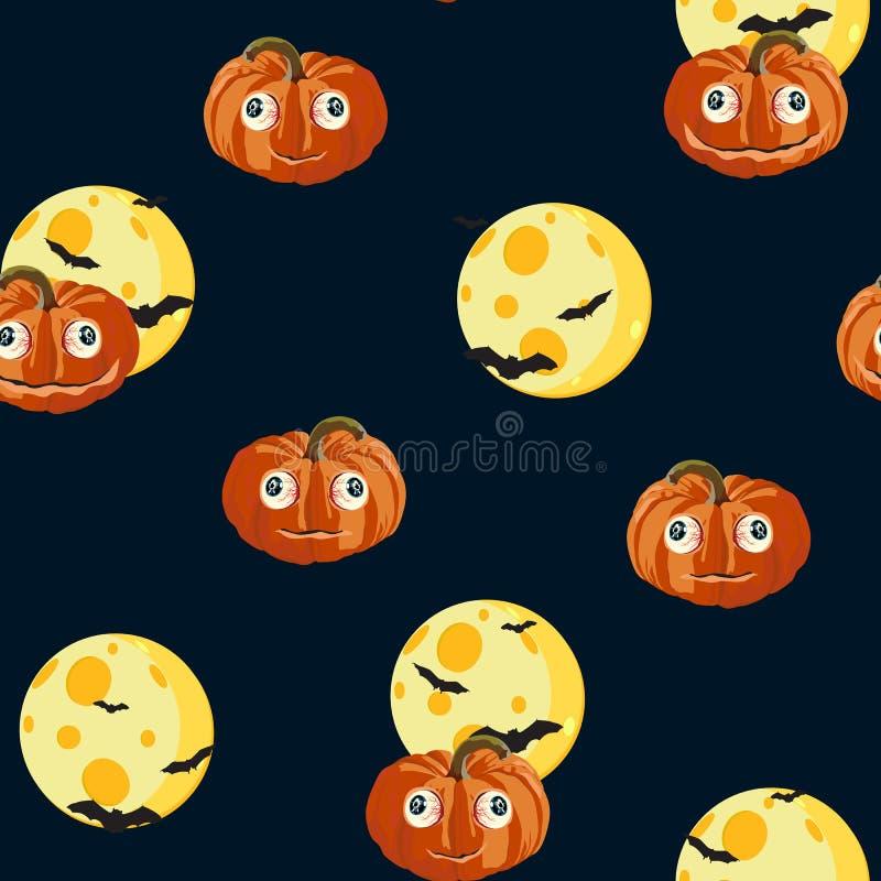 Le modèle sans couture avec les potirons oranges de Halloween a découpé les visages, la lune et la batte sur le fond noir illustration de vecteur