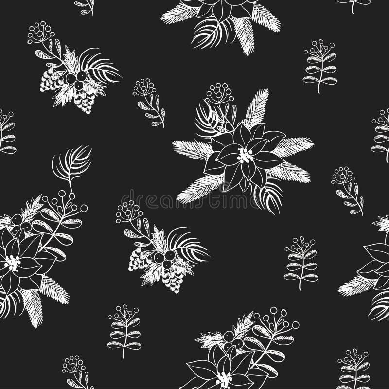 Le modèle sans couture avec Noël fleurit la craie peinte sur le tableau noir Vecteur illustration stock