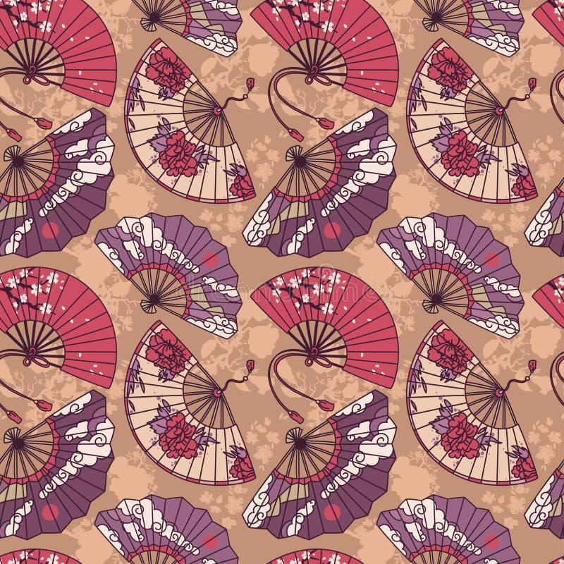 Le modèle sans couture avec le papier asiatique traditionnel de main évente illustration stock